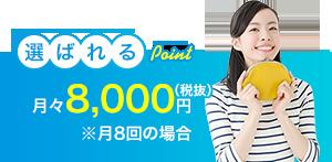 8,000円の月々のみ(税抜)